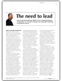 The Need to Lead - S&OP Article
